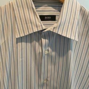HUGO BOSS- Blue Striped Button Down Dress Shirt